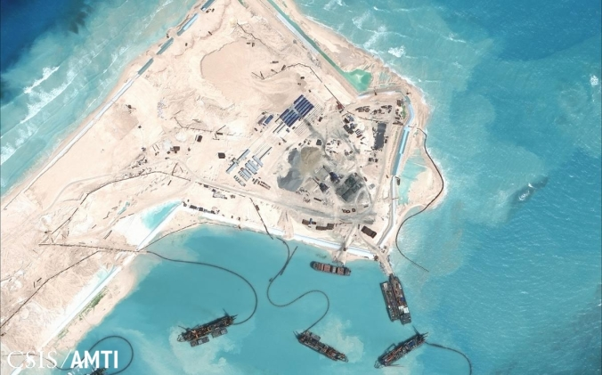 Chinese land reclamation efforts on Fiery Cross reef in the Spratly Islands (Asia Maritime Transparency Initiative)